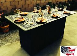 Unique Dining Table Gas Fire Pit Patio Propane Bar Metal Outdoor Furniture