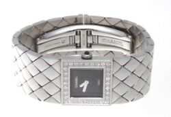 Authentic Chanel Matelassee Diamond & Stainless Black Lacquer Dial Watch