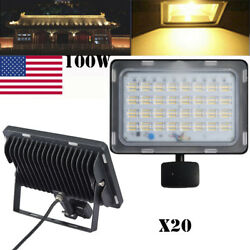 20x100W 110V LED Flood Light PIR Motion Sensor Warm White Lamp Outdoor Spotlight