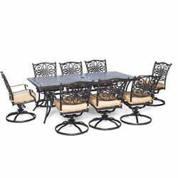 9 Piece Dining Set 8 Swivel Large Table Chairs Outdoor Patio Garden Furniture