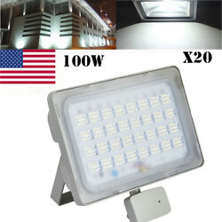 20x100W 110V LED Flood Light PIR Motion Sensor Cool White Lamp Outdoor Spotlight
