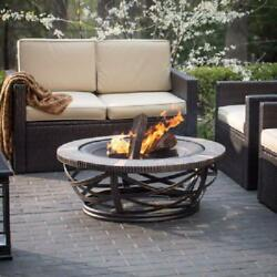 Round Fire Pit Wood Bowl Spark Guard Outdoor Patio Portable Steel Firepit Black