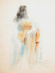 Marshall Goodman Woman with Orange Scarf Watercolor Painting