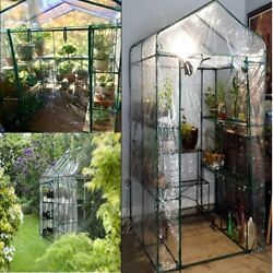 Plant Large Walk in Greenhouse with Clear Cover 12 Shelves Sturdy Construction