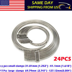 24 Pcs Universal Adjustable Axle CV Joint Boot Crimp Clamps Small amp; Large Kits $14.80