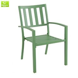 2 Pack Dining Chair Mix And Match Fern Metal Slat Outdoor Patio Porch Furniture