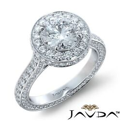 2.71ctw Side Stone Eternity Pave Round Diamond Engagement Ring GIA G-VVS2 Gold