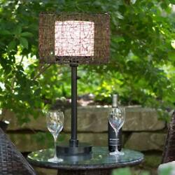 Outdoor Table Lamp Drum Shape All Weather Rattan Shade Steel Base Patio Lighting $322.43