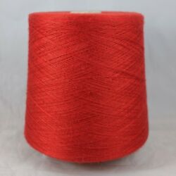 Italian Cashmere Silk 7030 Yarn Cone Lot Rosso Lace Cobweb Knit Weave Thread