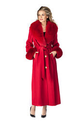 Real Fox Fur Collar Cashmere Coat Women Long 6 Small - Red