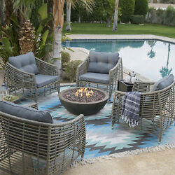 Outdoor Patio Conversation Set Fire Pit Chair Table Resin Wicker Metal Furniture