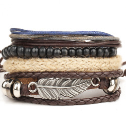 1pcs Men Fashion Jewelry Multilayer Leather Braided Cuff Bracelet Wristband Gift