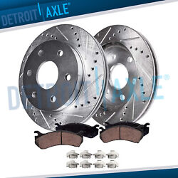 Front Drilled & Slotted Brake Rotors w Ceramic Pads 2007-19 Chevy Cadillac GMC $97.15
