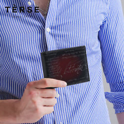 TERSE Men Handmade Patina Carving Design Genuine Italian Leather Small Wallet
