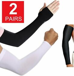2 Pair Unisex Outdoor Sports Cooling Arm Sleeves Cover UV Sun Protection $5.45