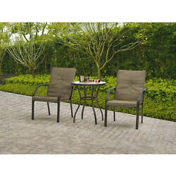 Garden Furniture Bistro Set Patio Outdoor Table and Chairs Cushioned Lawn 3 Pcs