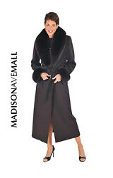 Womens Long Cashmere Coat with Real Fox Fur Collar & Cuffs - Dark Brown