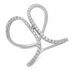 0.50 Round Cut Solitaire Promise Engagement Cross Design Ring 14k White Gold