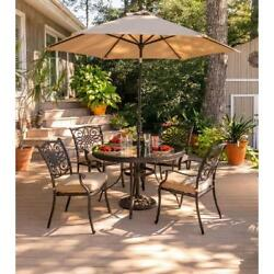 5 Piece Dining Set Glass Top Round Table Chairs Outdoor Patio Garden Furniture