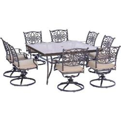 9 Piece Dining Set Swivel Chairs Glass Top Table Outdoor Patio Garden Furniture