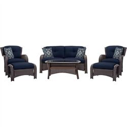 Outdoor 6-Piece Resin Wicker Patio Furniture Lounge Set with Navy Blue Seat Cush
