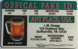 Official Fake ID ID Card Novelty Funny $3.99