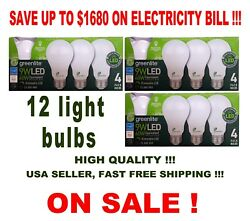 60W Equivalent 12 LED Light Bulbs GREENLITE 9W Bright White (3000K) A19 Dimmable $26.00