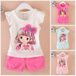 Kids toddler summer clothes baby girls cotton Tank+short pants 2pcs outfits girl $6.99