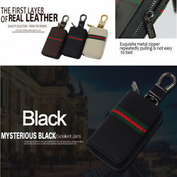 Auto Car Key Case Holder Covers PU Leather Wallets Keychains with Metal Zipper