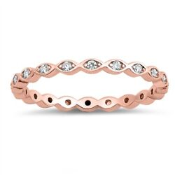 Rose Gold Plated CZ Eternity Band Stackable Ring Sterling Silver Sizes 5-9