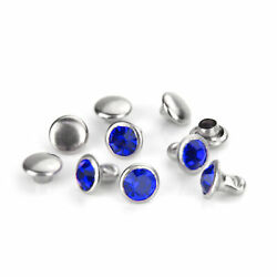 Czech Crystal Rivets Round Birthstone Color Sapphire 5 pack Jewelry Making $3.00