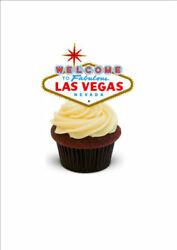 NOVELTY LAS VEGAS WHITE STAND UP Edible Cake Toppers Birthday Gambling Casino $3.29