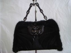 NWT AUTHENTIC Andrew Gn for Judith Leiber Black Fur Mink Goth Leather Chain Bag