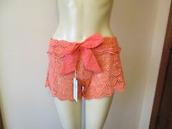 Coral Crochet Cover Up Shorts by Mud Pie Size Large 12 14 NWT $11.96
