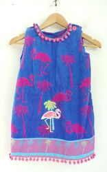 NEW Girls Beach Cover Up Blue amp; Pink Flamingo amp; Palm Tree Summer Towel One Size $23.80