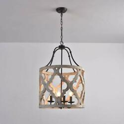 4-Light Rustic Chandelier Distressed White Carved Wood Suspended Lantern Rust $222.29