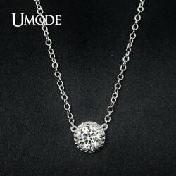 UMode Womens 7mm Pendant Necklace Link Chain Trendy Cubic Zirconia Brand New