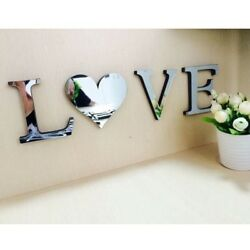 Mirror Wall Sticker LoveHome Letters Wall Decor DIY Art Mural 3D Acrylic Silver
