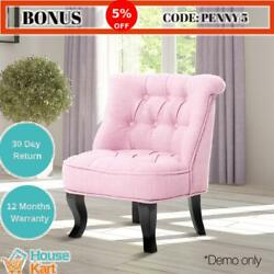 Kid Lorraine Chair party Sofa Retro Tub Lounge French Occasional Fabric Pink