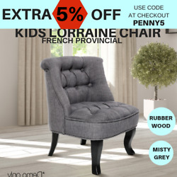 Kid Lorraine Chair Sofa party Retro Tub Lounge French Occasional Fabric grey