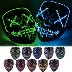 3-Modes Halloween Scary Mask Cosplay Wire Led Light Up Costume Mask Purge Movie
