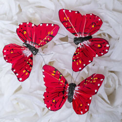 2.75quot; Artificial Decorative RED Feather Butterflies 12pcs Butterfly Craft $6.99
