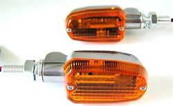 Polished Aluminum Amber Lens Turn Signals Mini Stalk Short 3 Wire Universal Fit $21.99