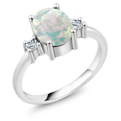 1.76 Ct Oval Cabochon White Simulated Opal White Topaz 925 Sterling Silver Ring