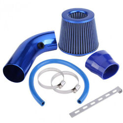Car Aluminum Alloy Blue Air Intake Kit Pipe Diameter 3