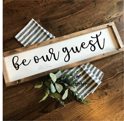 BE OUR GUEST Rustic LARGE Wood Sign Fixer Upper Farmhouse Primitive Distressed
