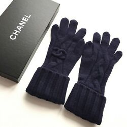 NWB CHANEL AUTHENTIC GLOVES MARINE BLUE KNITTED 100% CASHMERE