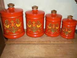 Vintage Retro Set of 4 Kromex Red Orange Bird Flowers Aluminum Canisters
