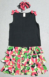Gymboree Palm Beach Paradise Dress 9 Girls Black Floral Tropical WPonytail EUC
