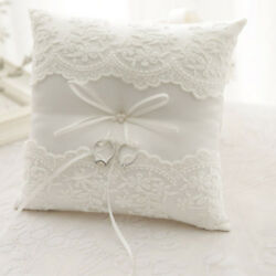 New Ivory Lace Wedding Satin Bowknot Cushion Bearer Ceremony Ring Pillow 20*20cm